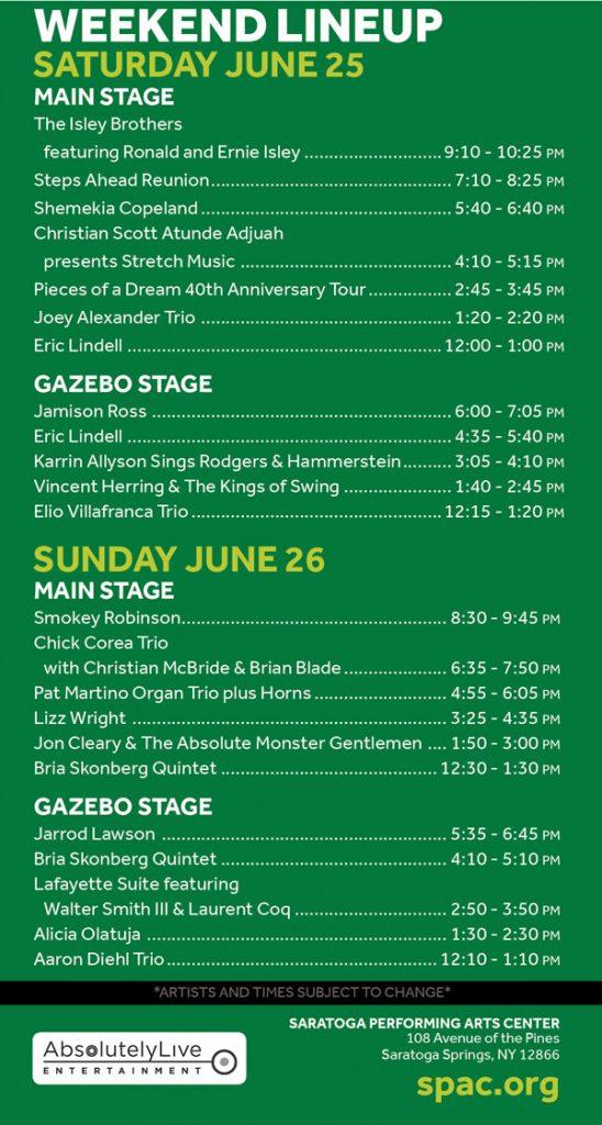 2016 Freihofer's Saratoga Jazz Festival Flyer, Side 2, including lineup